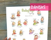 "DK - Baby sign language - DANISH - POSTER 13""X17"" A3 - Sign with baby and decorate your wall, nice pregnancy gift, communication, new mom."