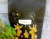 Reusable eco bag foxes - medium - polypropylene - black