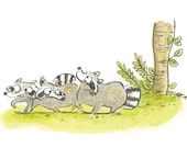 """Watercolor """"Worried Raccoons"""" from the book """"We have a problem with Lilou the otter"""" - Original artwork raccoons, forest, trees"""