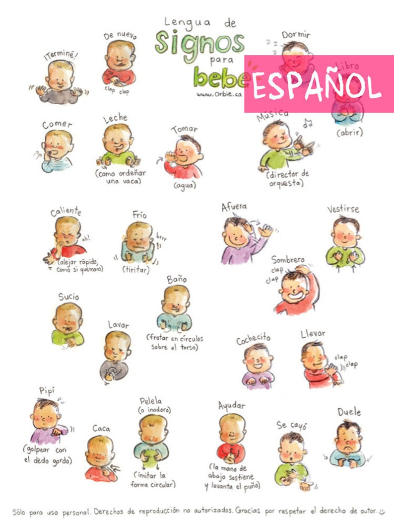 picture about Baby Sign Language Printable referred to as ES - Little one indication language poster (SPANISH PRINTABLE) - Indicator with little one interaction in the direction of print, fresh mother, mom and dad reward, chat, instance A4 A3