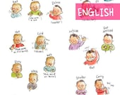 EN - Baby sign language poster (ENGLISH PRINTABLE) - Sign with baby communication to print, new mom, parents gift, speak, illustration A4