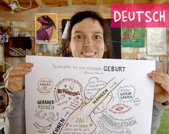 """DE - GERMAN - Poster Cheat sheet for physiological birth A2 (17"""" X 24"""") in french to hang for midwives, nurses, doulas, yoga teachers"""