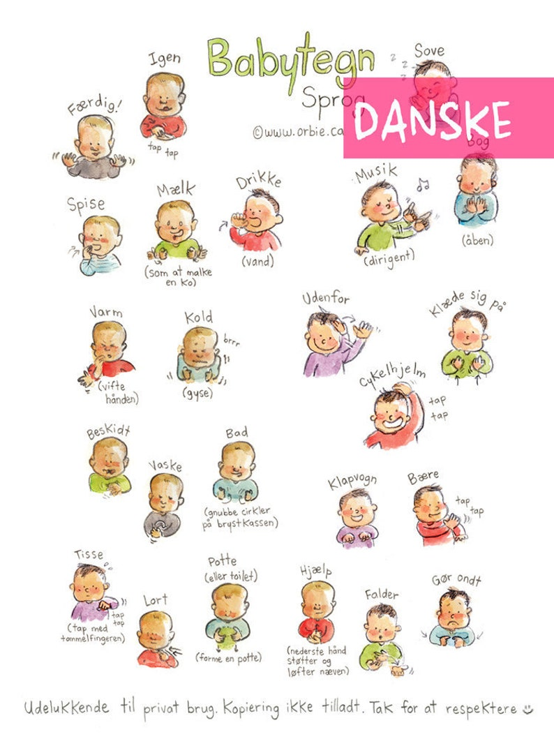 photo relating to Baby Sign Language Printable named DK - Child indicator language poster (DANISH PRINTABLE) - Signal with boy or girl interaction towards print, fresh new mother, moms and dads reward, converse, case in point A4 A3