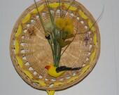 Yellow Finch in a Wicker Basket Wall Hanging