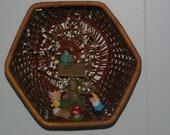 Fairy Garden in a Wicker Basket Wall Hanging