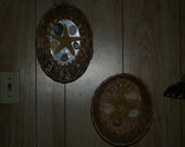 Set of two star fish and sea shell in a wicker basket