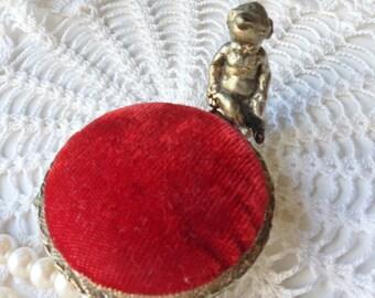 Cherub Pincushion, Red Velvet Victorian Pincushion