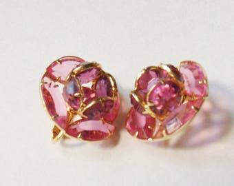 Pink Crystal Earrings Shaped Like Roses, Clip-on Pink Rose Earrings, Pink Rhinestone Earrings