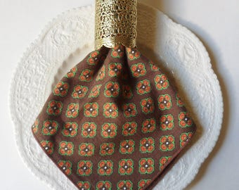 Six Brown and Orange Patterned Cotton Dinner Napkins, Boho Style Table Linens