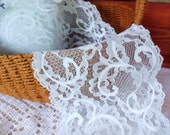 Light Blue Chantilly Lace, 1 yd x 4 3 4 quot Wide Trim, Selling it by the Yard, Vintage Cotton Lingerie Lace