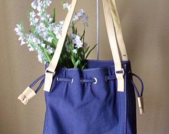 Navy Blue Drawstring Bag, Cherokee Drawstring Purse