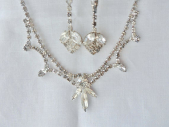 Marquis and Calibre Crystal Rhinestone Necklace wi