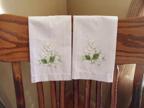 Set of two white flower applique hand towels handmade towels etsy
