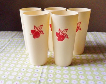 Five Strawberry Tumblers, Cream Colored Plastic Tumblers with Red Strawberries