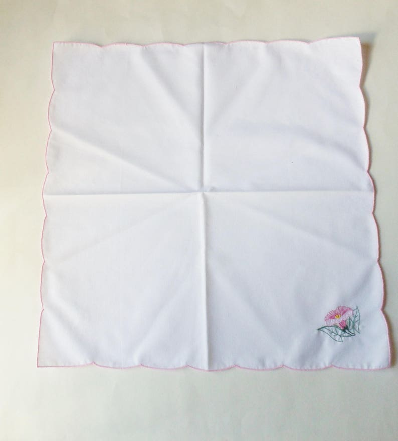 White Cotton Dinner Napkins with Embroidered Morning Glory Flowers Four Pink Morning Glory Napkins