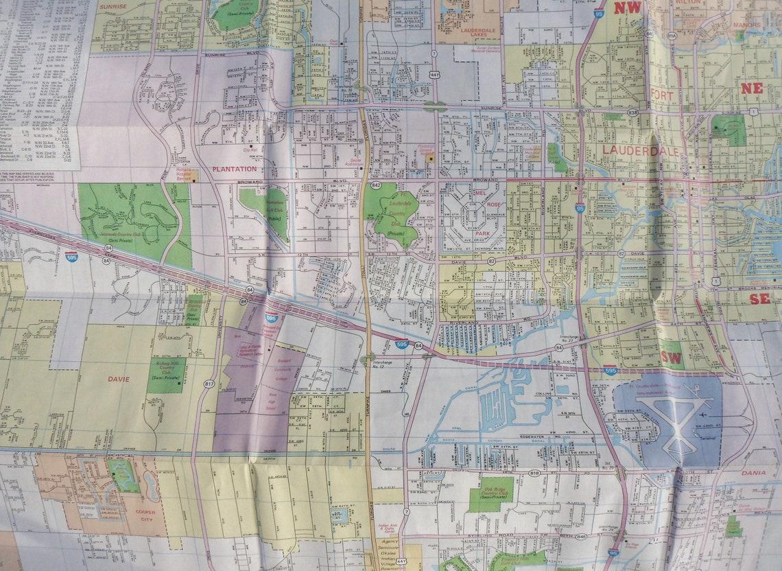 miami fort lauderdale miami beach road map 1989 city road