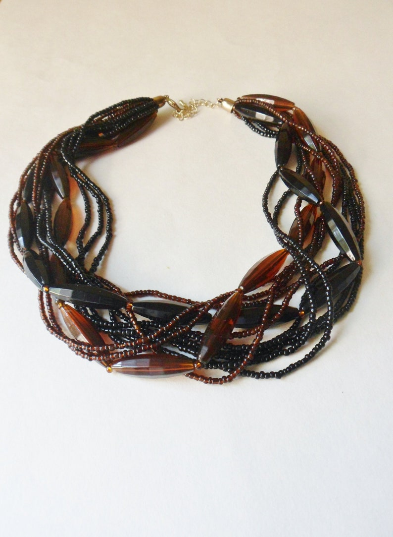 Multi Strand Choker Necklace Black and Brown 12 Strand Necklace
