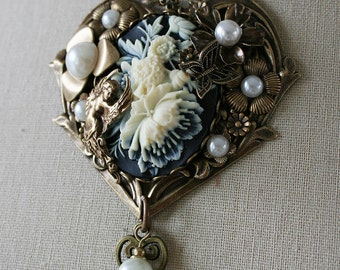 KEY to my HEART romantic Victorian steampunk Valentines Day necklace with cameo