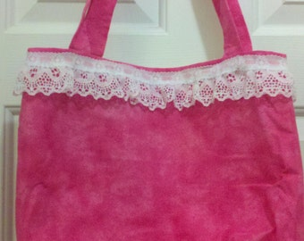 Tote dark pink tones with light pink lace trim OOAK