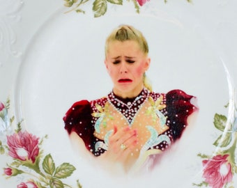 Crying Tonya Harding vintage up cycled plate ~ 1990s ~ Funny Christmas or anniversary gift for Mom. best friend, co-worker, or figure skater