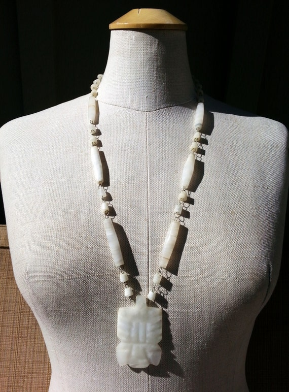Hand Carved Milky White Onyx Marble Gemstone Aztec Pendant