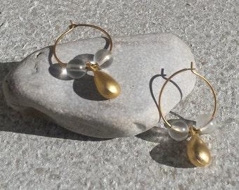 Small Minimalist Gold Tone Metal Hoop Earrings with Clear Bead & Gold Teardrop Charm Dangle Jewelry Jewellery