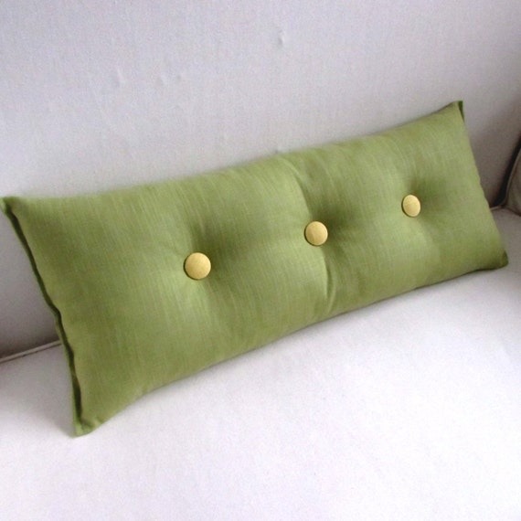 Decorative Lumbar Pillow In PEAR GREEN With Yellow Buttons Etsy Gorgeous Decorative Lumbar Pillows For Chairs
