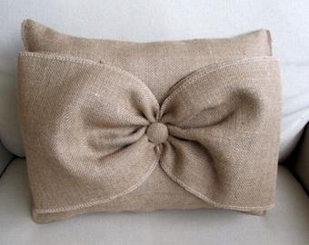 Natural Burlap Accent Pillow with giant burlap bow