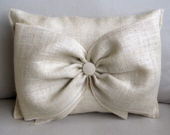 parchment Burlap Accent Pillow with giant burlap bow