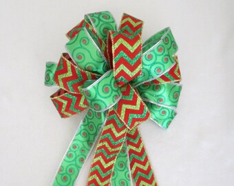 Red and Green Bow / Wreath Bow / Christmas Bow