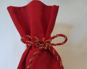 Wine Bottle Gift Bag Red Silk