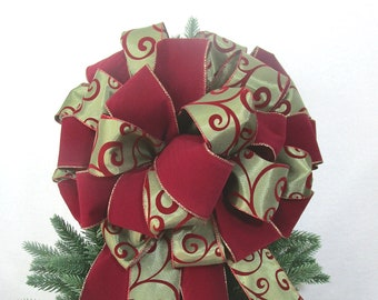 Christmas Bow, Cranberry and Olive Green Bow, Wreath Bow, Cranberry Bow, Olive Green Bow