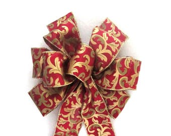 Red and Gold Bow / Wreath Bow / Christmas Bow / Cranberry Bow