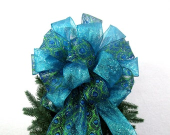 christmas tree topper bow christmas tree bow peacock bow christmas bow blue and green bow tree topper bow - Peacock Christmas Tree Topper