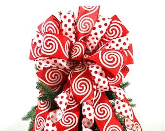 Tree Topper Bow / Wreath Bow / Christmas Tree Topper Bow / Red Bow / Red and White Bow / Christmas Bow / Christmas Wreath Bow