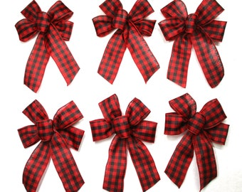 Small 5-6 Wired Traditional Christmas Plaid Bow