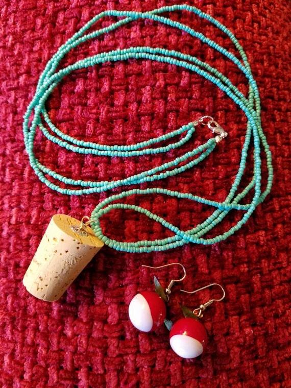 Radish Earrings and Cork Necklace Set Costume Halloween