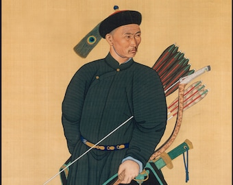 Chinese Warrior Art Reproduction.  Imperial Archer, 1760 - Qing Dynasty (1646-1911). Fine Art Print