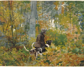 Winslow Homer Watercolor Reproductions. On the Trail, 1892. Fine Art Print.