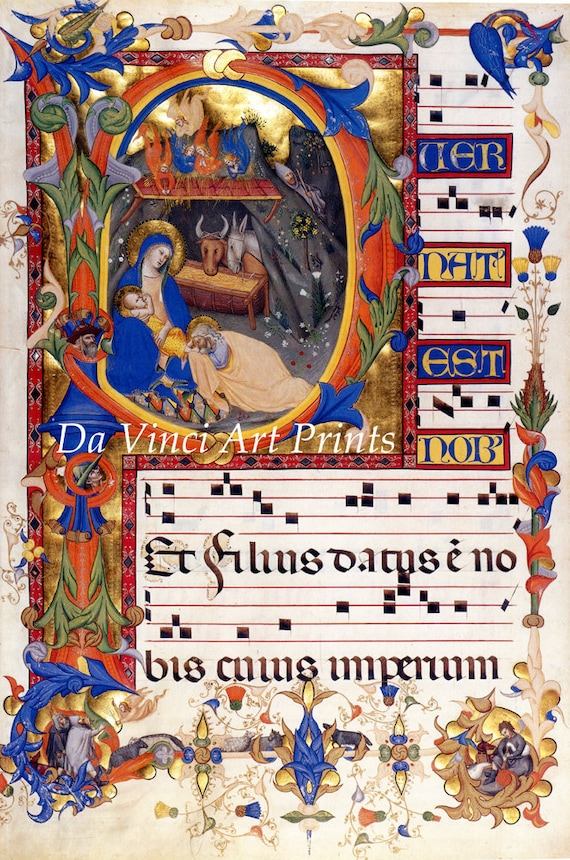 Annunication in A Art Print Illuminated Manuscripts