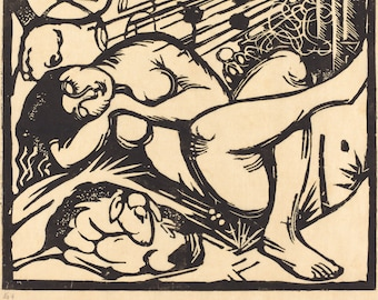 20th Century Expressionism: Sleeping Shepherdess, 1912 by Franz Marc.  Fine Art Reproduction.