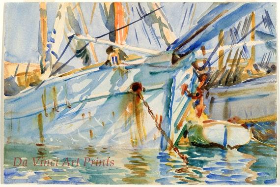 Boats John Singer Sargent Watercolor Reproductions Fine Art Print