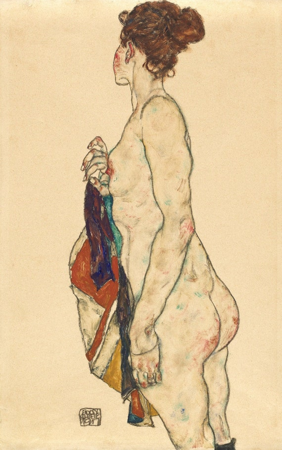 Fine Art Print Egon Schiele Drawing Reproductions Self Portrait