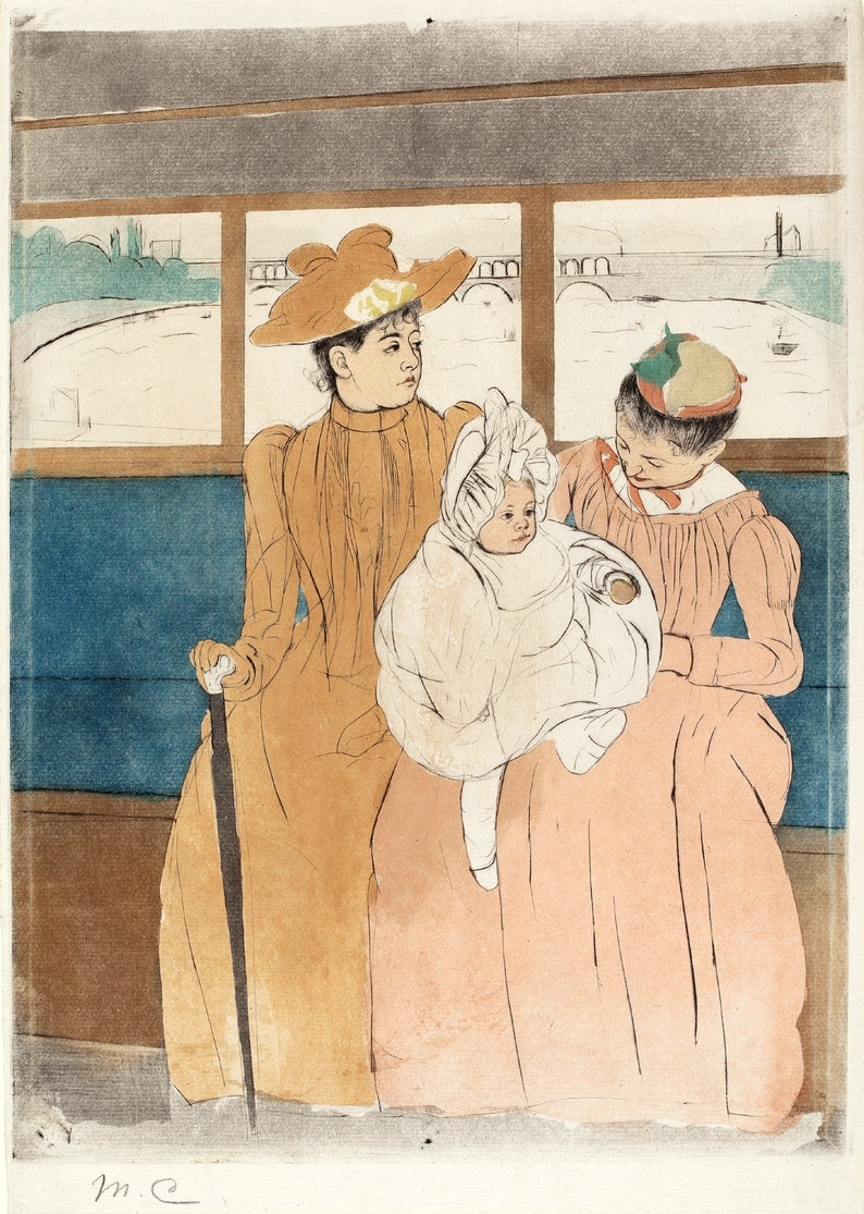 217009d1049fd Mary Cassatt Print Reproductions - In the Omnibus, c. 1890-91 . Fine Art  Print.