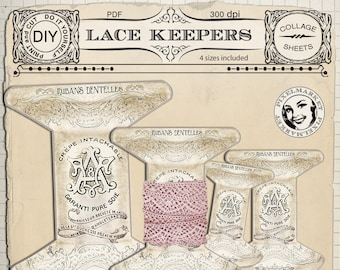 Lace Ribbon HOLDERS Clip Art with Scrolls & Flourishes Printable Download French Shabby Chic Lace Keepers Tag DiY Thread Floss Storage k09