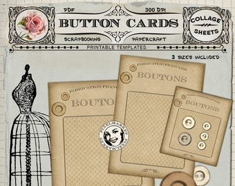 BUTTON CARD Clipart French Vintage Button Card Printable PDF Template Button Display Card Sewing Storage Diy PaperCraft Instant Download 232