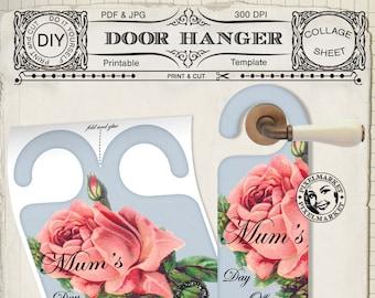 printable door sign vintage door hanger diy paper crafts etsy