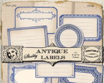 Blank Label Clipart Set of 8 blue printable stickers Vintage name tag Digital download Scrapbooking Journaling Office organization Jar label