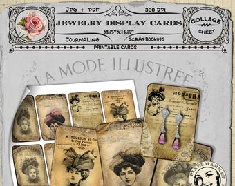 PRINTABLE Jewelry Cards TEMPLATE Victorian Ads Instant Download Aceo size Digital Collage sheet French Ephemera Jewelery Holders Earring Tag