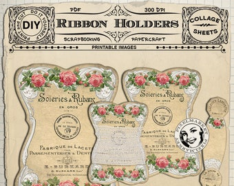 Lace Ribbon Keeper & Thread Card PRINTABLE TEMPLATES, Set of 5 Ribbon Holder Cliparts Instant Download DiY PaperCraft Floss Storage k07